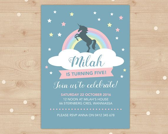 Unicorn and rainbow birthday invitation Girls by InkandCardDesigns