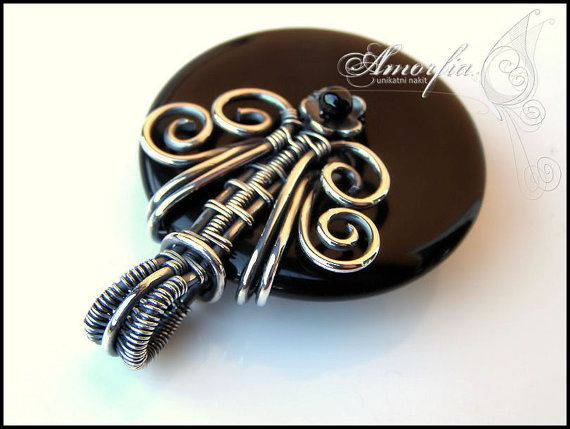 Reversible gothic black onyx wire wrapped pendant by amorfia