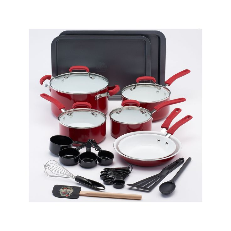 Guy Fieri 25-pc. Ceramic Nonstick Cookware Set, Red