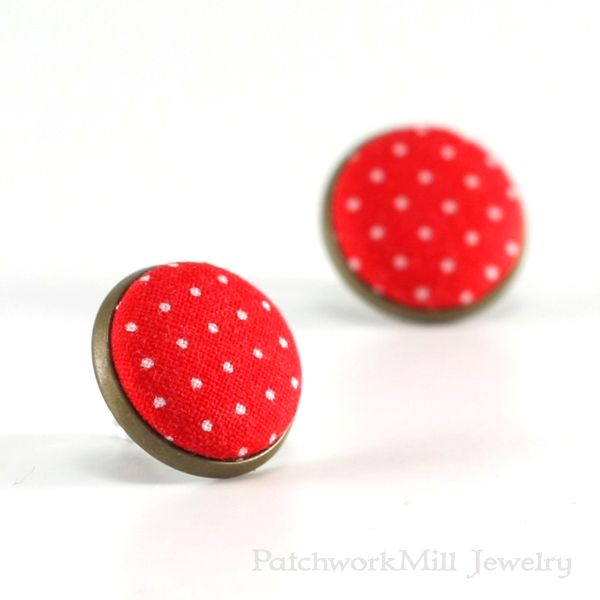Red Stud Earrings - Red Polka Dots Earring Studs - Red and White Fabric Covered Buttons Earrings Antique Posts Jewelry Christmas Gift by PatchworkMillJewelry
