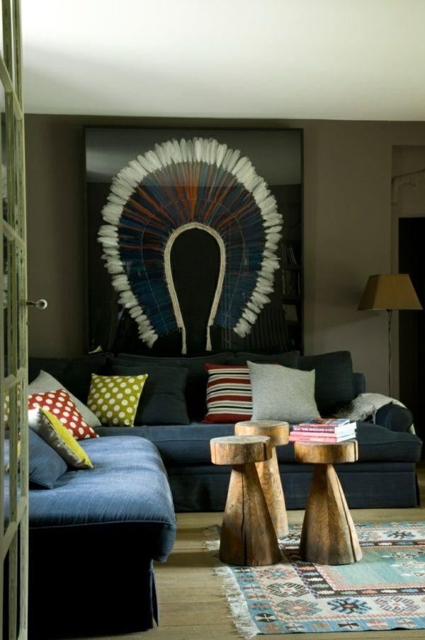 Hocker Design Holz Wohnzimmer Sofa