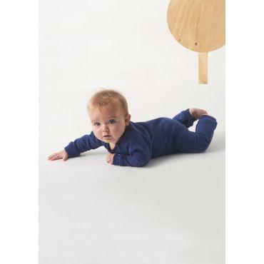 Blauw kruippakje met grafische bomenprint in sweater-kwaliteit - Mister Monkey and Misses Butterfly - Little Label - AW16 - Boys - Girls - Babysuit - Alloverprint - Pattern - Trees