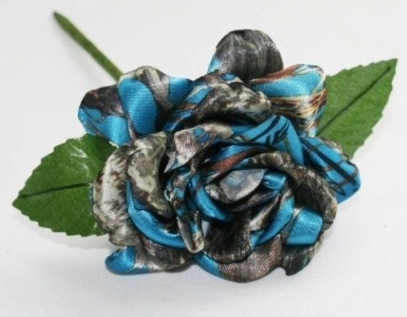 Blue Camo Rose Blue Satin Camo Rose Camo Wedding by Camotreasure