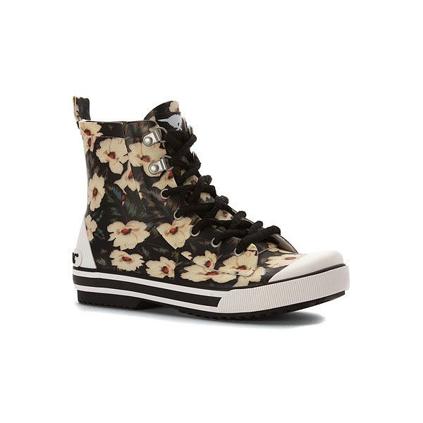 Rocket Dog Rainy  Boots ($41) ❤ liked on Polyvore featuring shoes, boots, black midnight floral, men, black floral shoes, black shoes, rubber boots, black wellington boots and floral rain boots