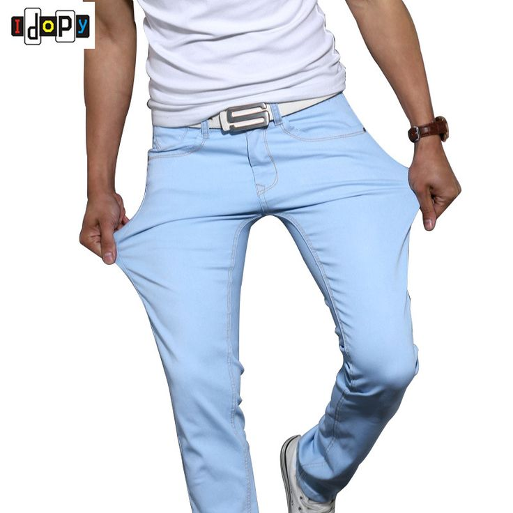 New Candy Colors Skinny Denim Pants For Men Elastic Stretch Five Pockets Classic Fashion Slim Fit Jeans Trousers #Affiliate