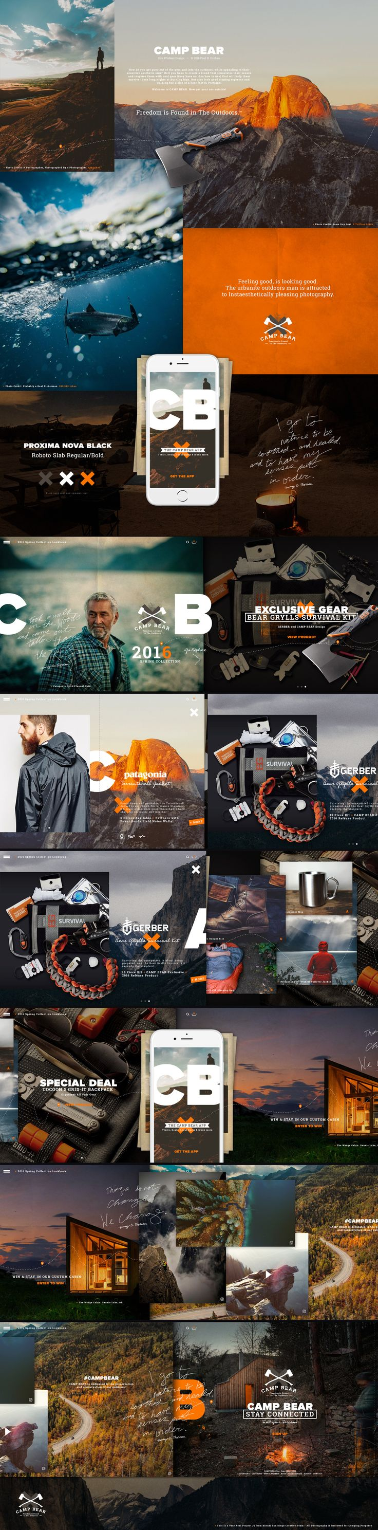 CAMP BEAR is a outdoor shopping brand for Real Men. Designed at Mirum San Diego  #sitedesign, #interactivedesign, #branding, #website, #responsive, #campaign, #visualdesign, #mazda, #mirum