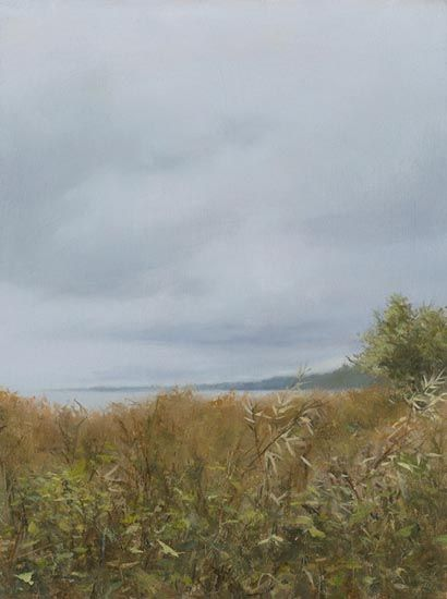 """Denise Antaya - Distant Cliffs Oil on prepared birch panel  6"""" x 8"""""""