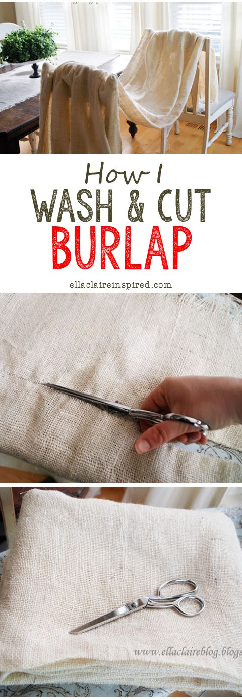 How to Wash and Cut Burlap! Soften, get rid of the smell, and make it so much easier to work with!