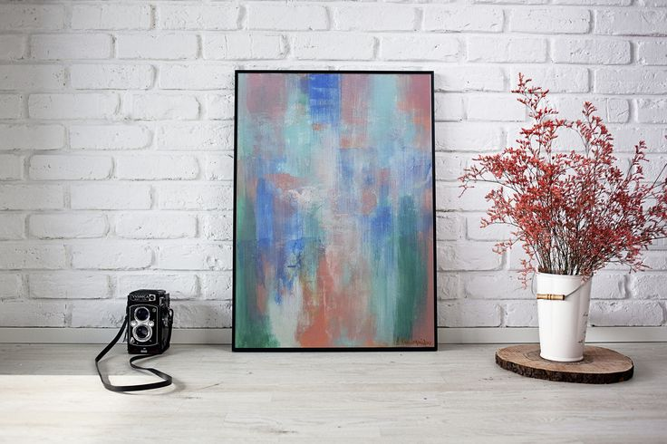 Original Abstract Painting on Paper - Bedroom decoration Colorful Artwork for Home Modern Painting by DeniseArtStudio on Etsy