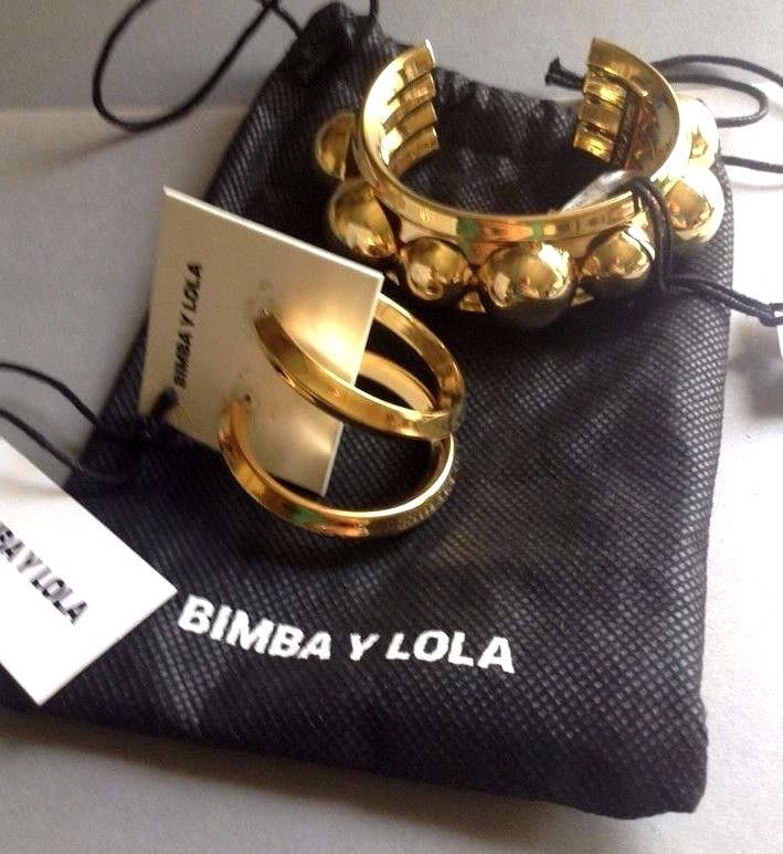 SALE Bimba & Lola NWT & Dust Bag, Gold Tone Bangle Bracelet & Hoop Earrings #BimbaandLola #BangleHoopEarrings