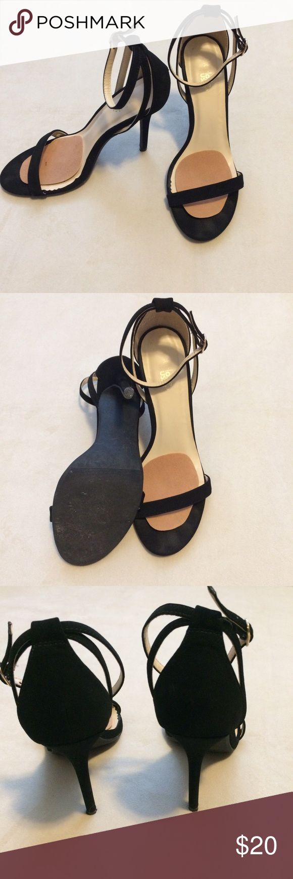 Faux Suede black strappy pumps I ❤️ these because they are so classic, can be worn with almost everything, if not everything, I just realized I had like 10 pairs of black strappy shoes and these were the least worn--only worn a couple times!! 4 inch heel🙌🏼😎 Charlotte Russe Shoes Heels