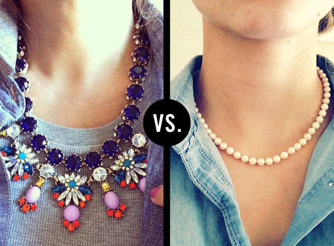 "Statement necklace or simple necklace? Which one do you like better? Remember you can say, ""Both"""