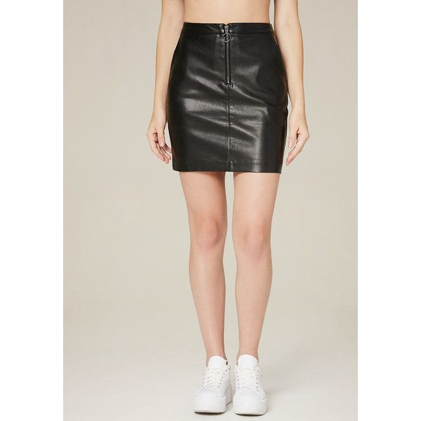 Bebe Women's Circle Zip Miniskirt ($56) ❤ liked on Polyvore featuring skirts, mini skirts, blk, zip front skirt, circular skirt, faux-leather skirts, circle skirt and short skirts