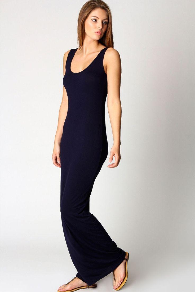Scoop Neck Sleeveless Navy Black Sundress Floor-Length Long Maxi Dress Vestido Longo Casual  comfy