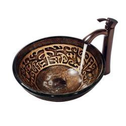 Vigo Golden Greek Vessel Sink And Bronze Faucet Craft
