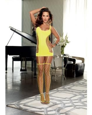 Opaque and fence net garter dress w/attached thigh high stockings lime o/s - This sexy Opaque and Fence Net Garter Dress with Attached Thigh High Stockings from Dreamgirl is perfect for ad...