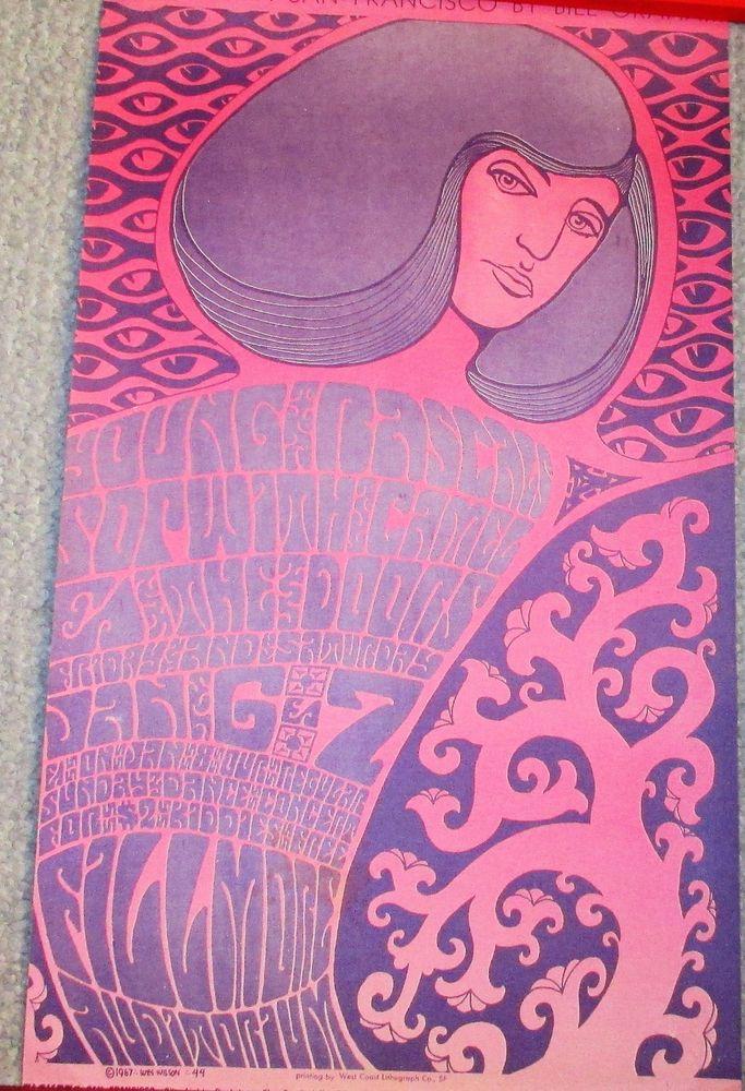YOUNG RASCALS+THE DOORS+SOPWITH~RARE 1967 ORIGINAL BILL GRAHAM FILLMORE POSTER