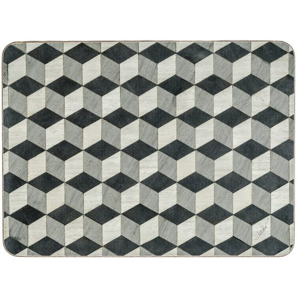 6 Black Grey Placemats Geometric Place Mats Art Deco Tablemats Gray... ($62) ❤ liked on Polyvore featuring home, kitchen & dining, table linens, black place mats, gray table linens, grey table mats, geometric placemats and black placemats