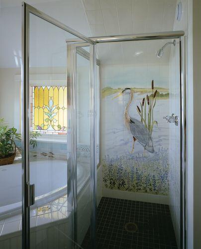 1000 images about coastal bathrooms on pinterest for Bathroom tile mural