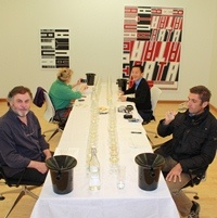 International Judges hard at work at the blind tasting of Italian, American and Nelson aromatic wines. Sept 2011