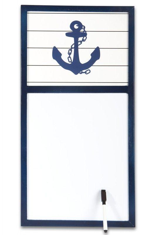 Pinwand Magnettafel Anker blau weiß