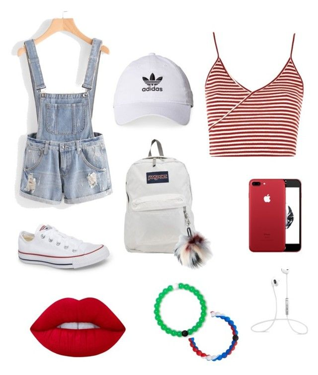 """""""Overalls"""" by dylanmckenzie on Polyvore featuring Topshop, Converse, JanSport, adidas, Aéropostale, Lokai and Lime Crime"""