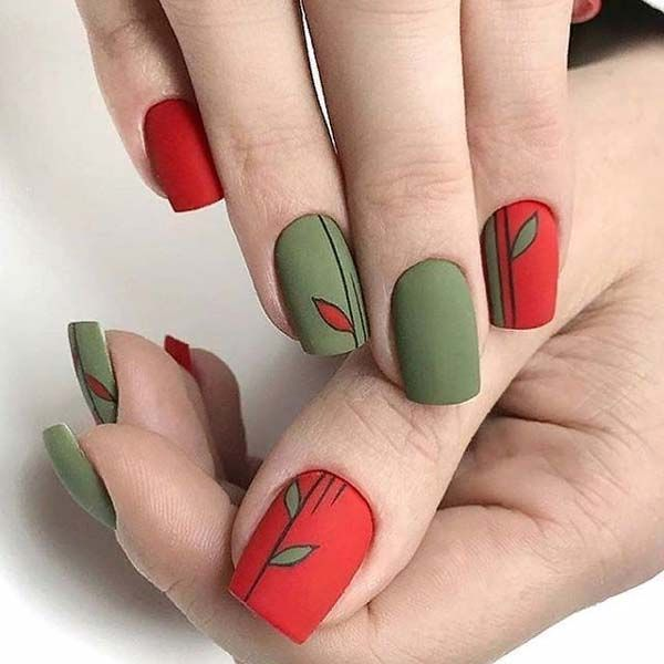 Green and red matte leaf nail art 2019