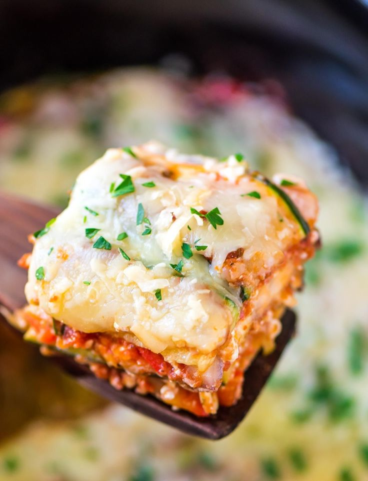 Crock Pot Low Carb Lasagna made with zucchini and eggplant in place of pasta. Healthy, gluten free, and your slow cooker does all the work!