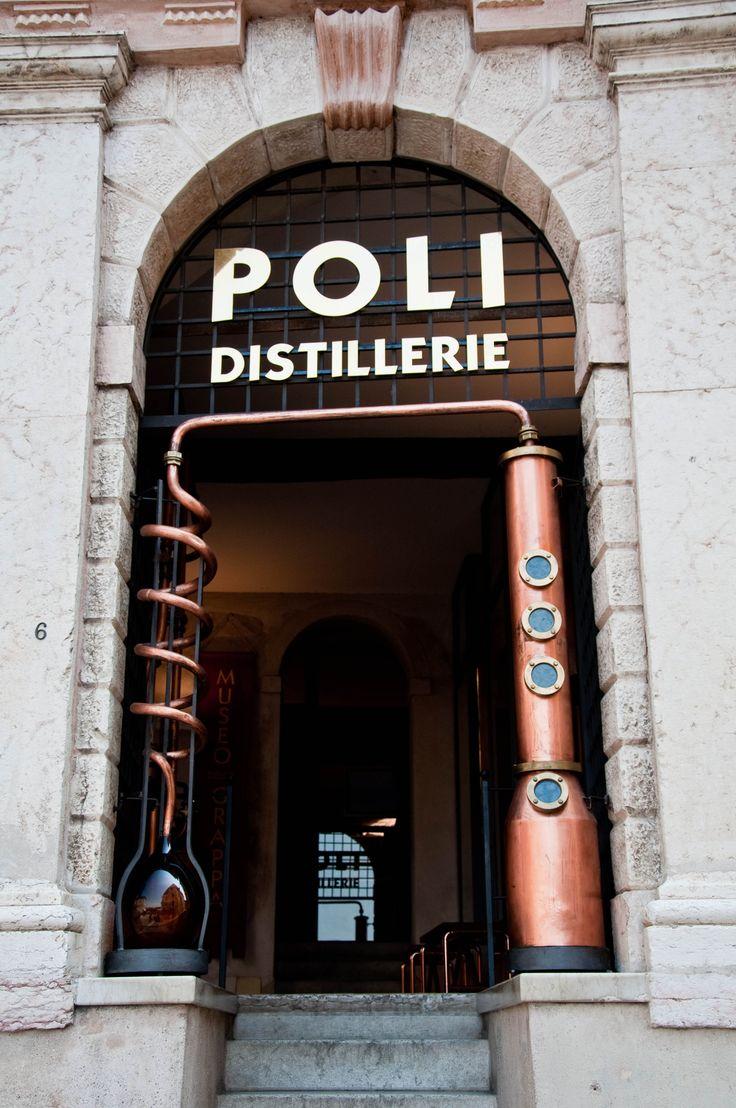 Poli Grappa Distillerie in Bassano del #Grappa, just off the bridge. Italy. Province of Vicenza, Veneto region.