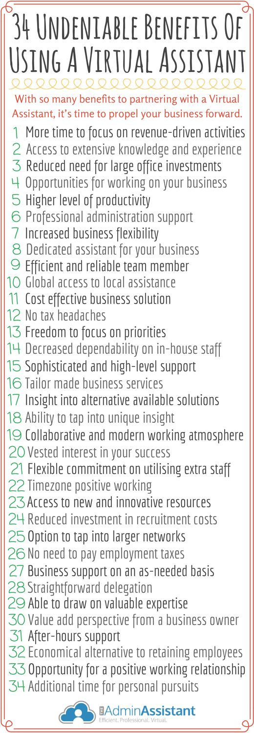 Our latest infographic gives you 34 reasons to make #VirtualAssistants a part of your #business growth strategy.