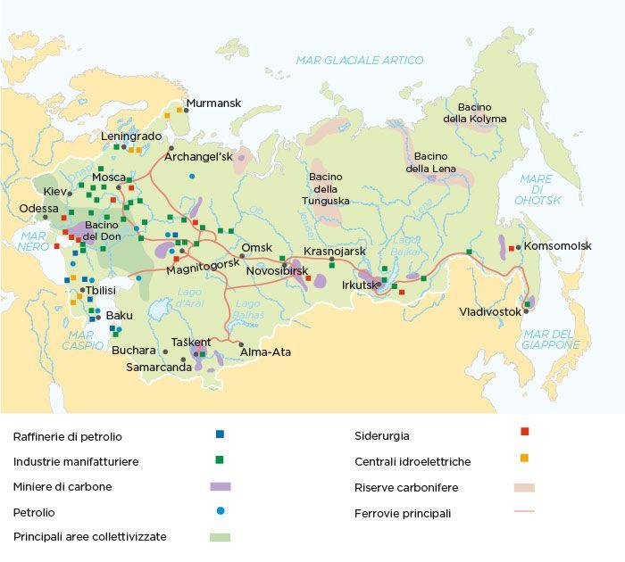 l'industrializzazione della russia. la cartina riporta le zone russe e per cosa sono sfruttate