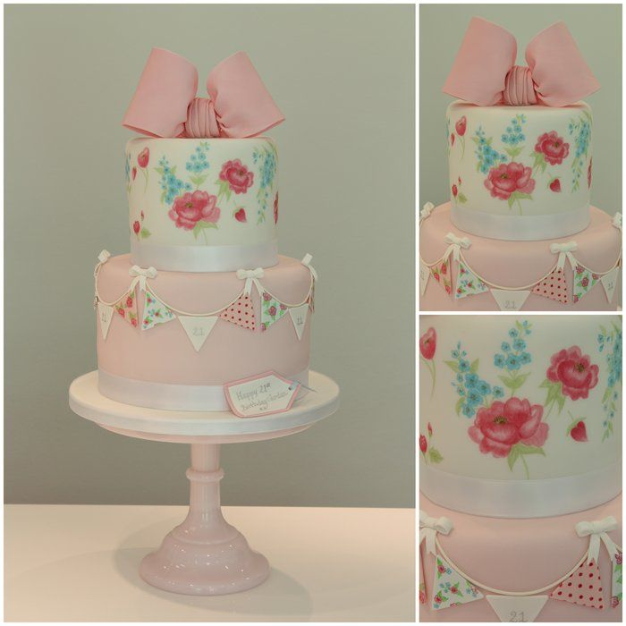 Handpainted Cath kidston Cake - by TiersandTiaras @ CakesDecor.com - cake decorating website