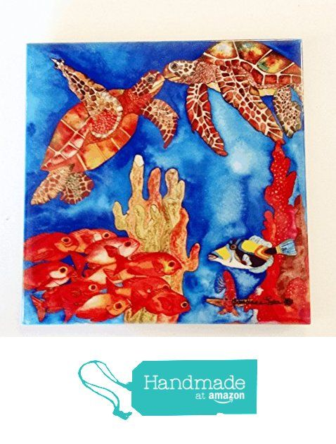 """Turtle Ceramic Tile - """"Love Bugs"""" Artwork by Candace Lee. Made in Hawaii. Comes in 3 sizes 4.25"""", 6"""" or 8"""". Use as a wall hanging or a trivet. from Visions of the Tropics https://smile.amazon.com/dp/B0167RJWJ4/ref=hnd_sw_r_pi_dp_d-q6ybB8YVM7V #handmadeatamazon"""