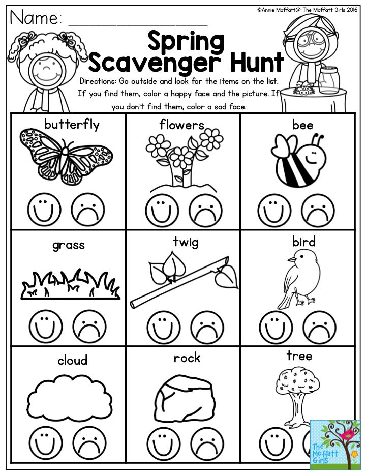 send your preschool students on a spring scavenger hunt now is the perfect time to get them. Black Bedroom Furniture Sets. Home Design Ideas