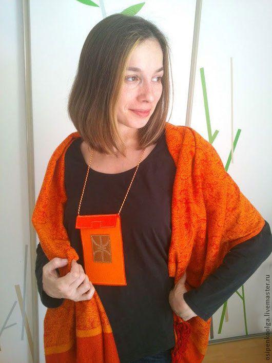 Комплекты аксессуаров ручной работы. Ярмарка Мастеров - ручная работа. Купить Комплект этнический - сумочка из войлока и шарф оранжевые. Handmade.
