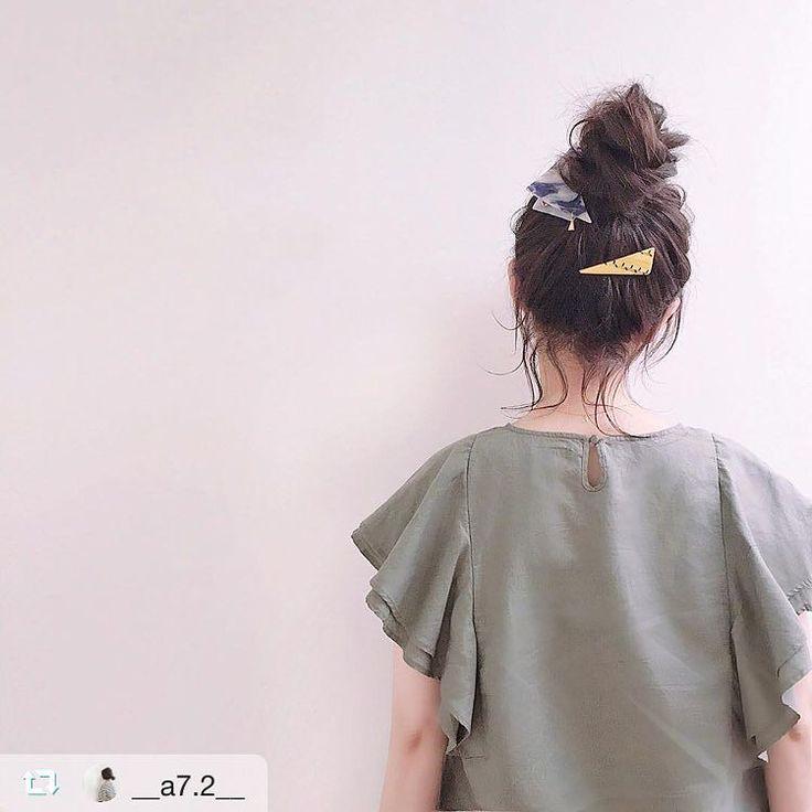akiさん (@__a7.2__ )に サンカククリップ ネイビー サンカクバレッタs アセチイエロー ご着用いただきました  後れ毛が 可愛い  #sAnコレ #repost @__a7.2__ via @PhotoAroundApp  #hairarrange ヘアカラーを秋色にチェンジ sAnの重ねづけ可愛い . #san