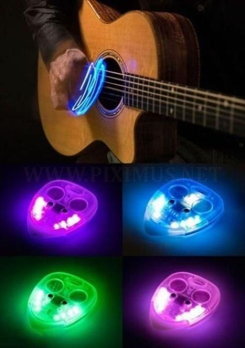 """Lighted guitar pick. Pretty cool stage effect - I don't know how well they """"play,"""" though."""