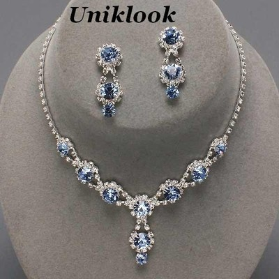 wedding bridesmaid lite blue clear crystal costume jewelry necklace earrings set