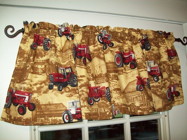 Farmall and ih tractor window valance curtain for the for Garage ad valence