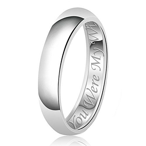 5mm For Her Engraved Classic Sterling Silver Plain Wedding Band Ring, Size 5.5