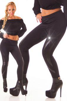 Vastag fekete cicanadrág, leggings fekete kövekkel és bőrhatású betéttel
