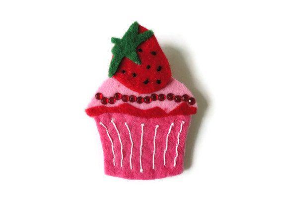 Felt brooch-brooch felt-felt pin-felt cupcake brooch-cupcake brooch-pink felt-felt jewelry-felt accessories-pink cupcake brooch. $11.00, via Etsy.