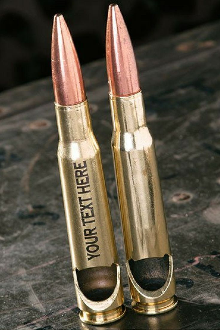 50 Caliber Bottle Opener in Brass. Add custom engraving for the perfect gift!