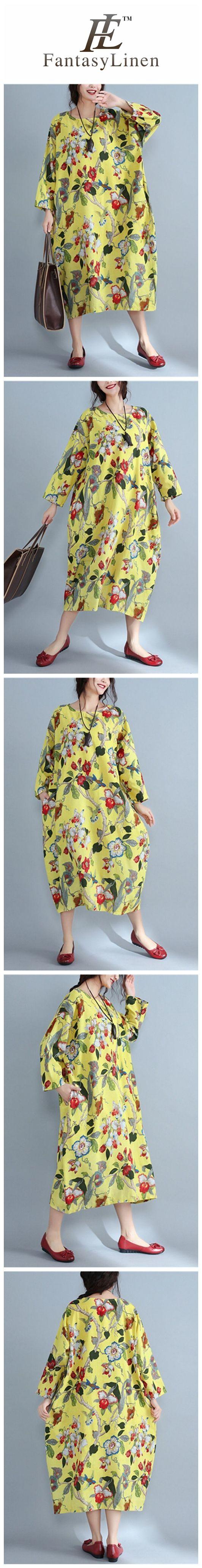 Round Neck Flowers pattern Random Loose Long Cotton Dress  Q7845