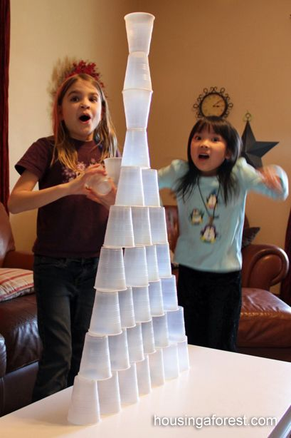Who can build the tallest tower, who can build tower fastest, etc. This game will have kids giggling and having fun for a guaranteed chance that you will come back to sit!