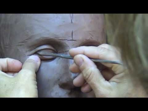 Sculpting Open Eyes In Clay. Sculpting tutorial-demo.