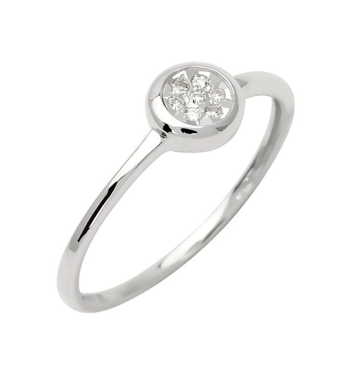 Bague Solitaire - Or blanc 9 cts - Diamant 0.05 cts  #Bague #Femme #Or #Blanc