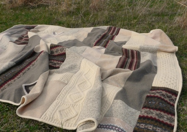 Felted wool blanket...great idea for wool sweaters that can't be unravelled!