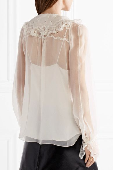 Chloé - Broderie Anglaise-trimmed Silk-organza Top - Ivory