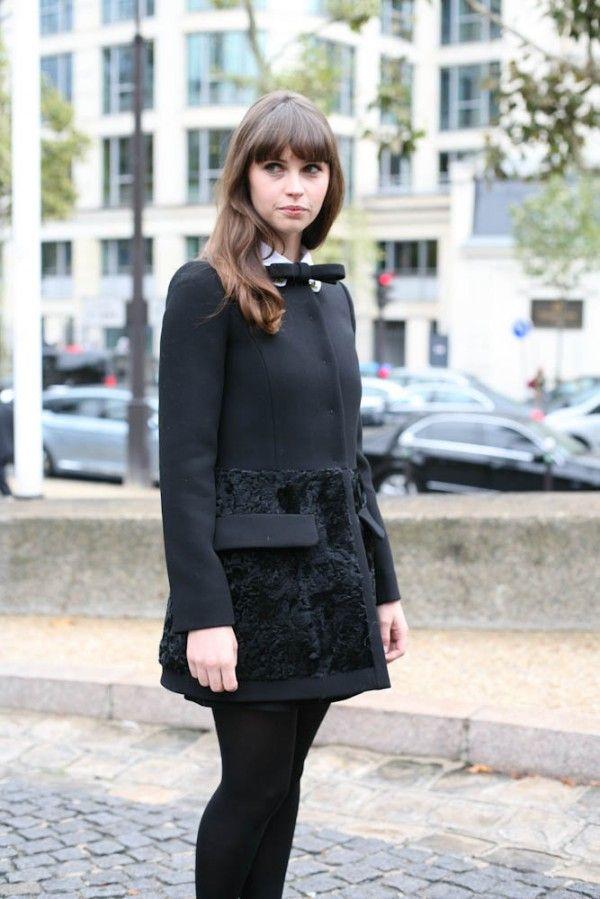 Felicity Jones bow coat Paris Fashion Week Spring 2013